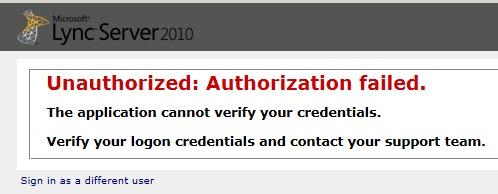 Cannot login to Lync 2010 Control Panel – Unauthorized
