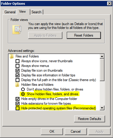 unhide files and folders